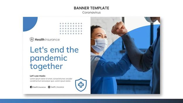 Banner horizontal para pandemia de coronavirus con máscara médica.