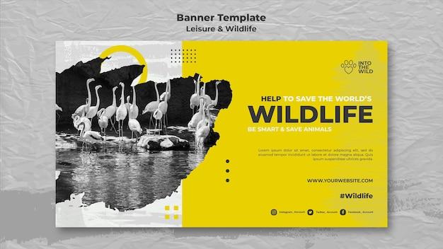 Banner horizontal para la protección de la vida silvestre y el medio ambiente. PSD gratuito