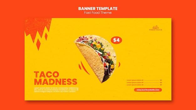 Banner horizontal para restaurante de comida rápida.