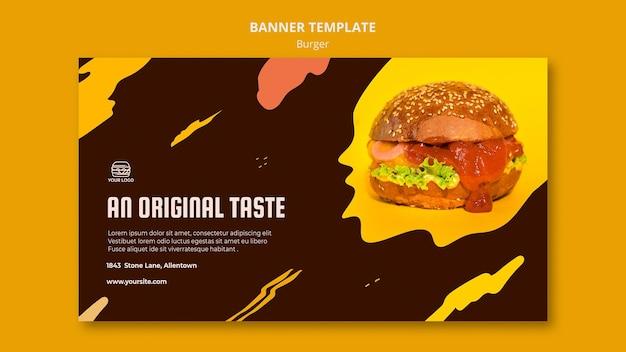 Banner horizontal para restaurante de hamburguesas.