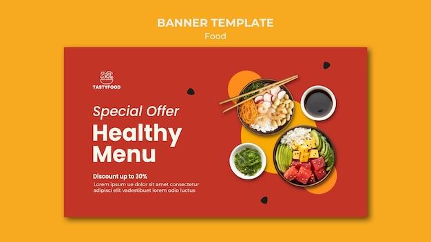 Banner horizontal para restaurante con plato de comida sana