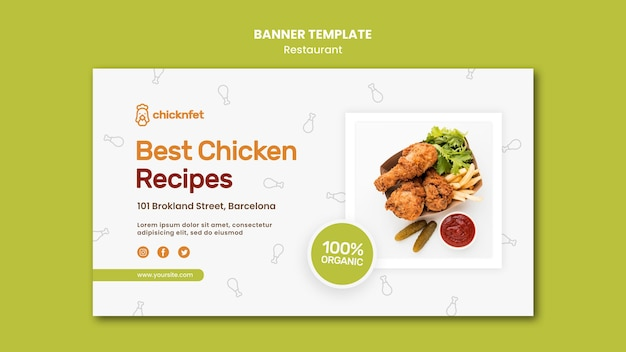 Banner horizontal para restaurante de plato de pollo frito