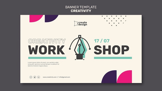 Banner horizontal taller de creatividad