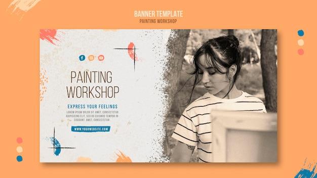 Banner horizontal de taller de pintura