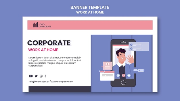 Banner horizontal para trabajar desde casa