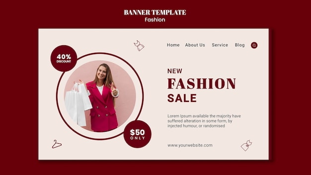 Banner horizontal para venta de moda con mujer y bolsas de compras.