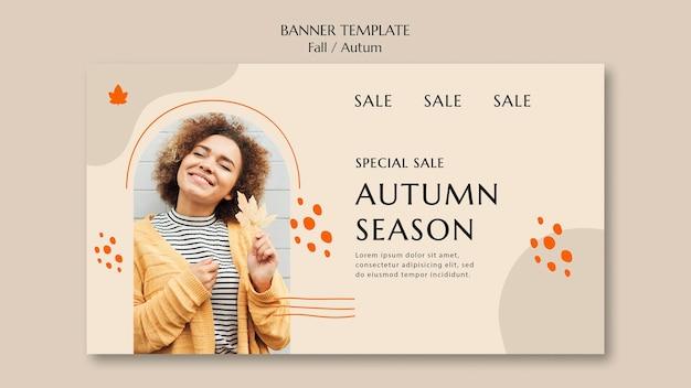 Banner horizontal para la venta de otoño