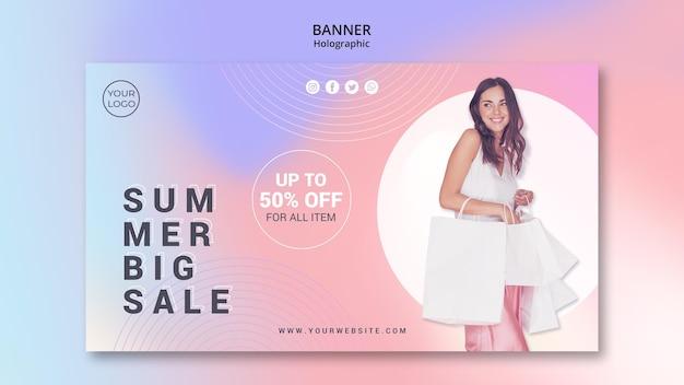 Banner horizontal para venta de verano.