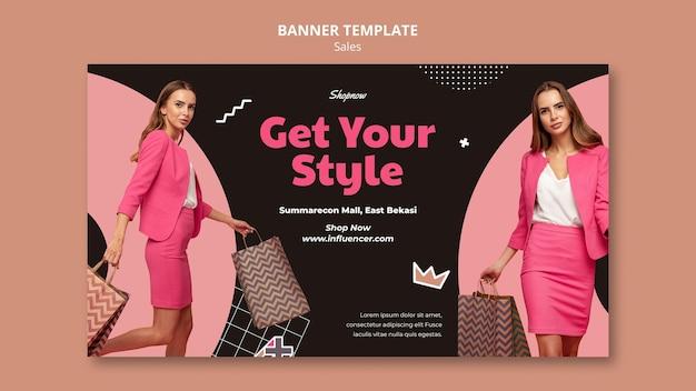Banner horizontal para ventas con mujer en traje rosa.
