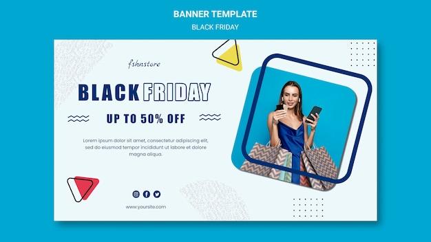 Banner horizontal para viernes negro con mujer y triángulos.