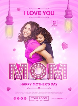 Banner i love mom mothers day diseño de plantilla carta 3d render