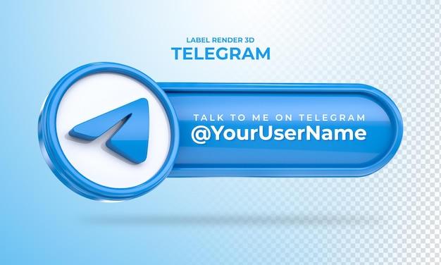 Banner icon telegram praat met me label 3d render geïsoleerd
