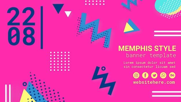 Banner in stile memphis rosa piatto