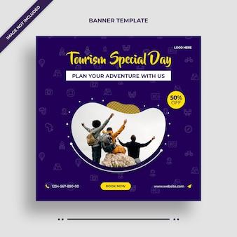 Banner instagram del giorno speciale del turismo o modello di post sui social media