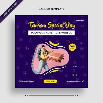 Banner de instagram del día especial de turismo o plantilla de publicación en redes sociales