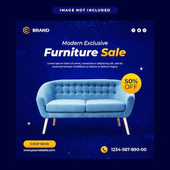 Banner de instagram de venta de muebles modernos o plantilla de publicación en redes sociales