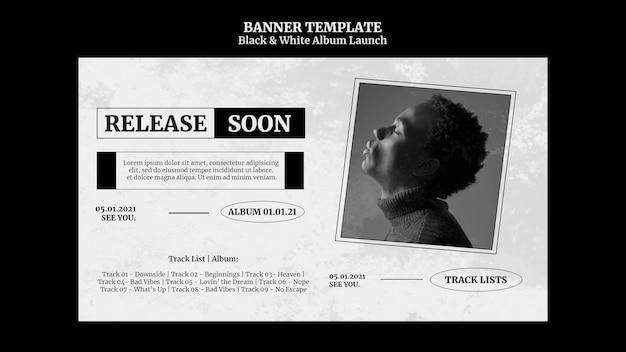 Banner de lanzamiento de álbum en blanco y negro