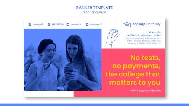 Banner de lenguaje de señas con foto