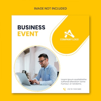 Banner de medios sociales amarillo de evento empresarial