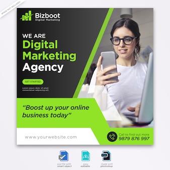 Banner de medios sociales de marketing de negocios digitales o folleto cuadrado