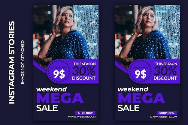Banner mega vendita social fine settimana premium psd