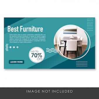 Banner mejor plantilla de diseño azul de muebles