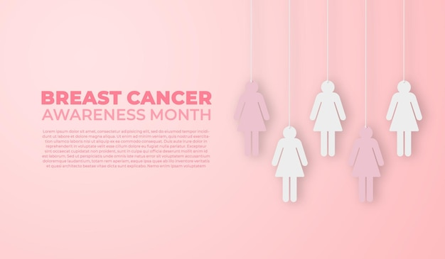 Banner del mes de concientización sobre el cáncer de mama con corte de papel para mujeres
