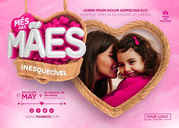 Banner mes de las madres en brasil con cestas y corazones 3d render PSD Premium