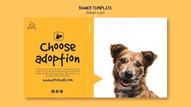 Banner met adoptie van huisdieren