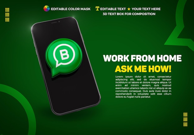 Banner met mobiele telefoon en 3d-pictogram whatsapp bussines