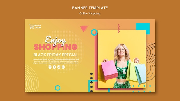 Banner met online shoppings-thema