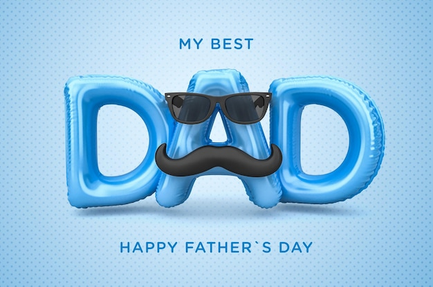 Banner mi mejor papá feliz día del padre render 3d