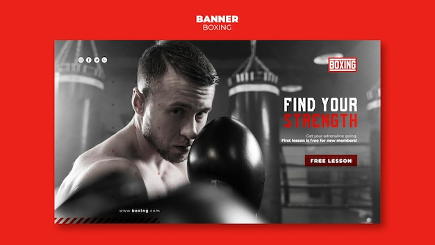Banner modello di annuncio di boxe
