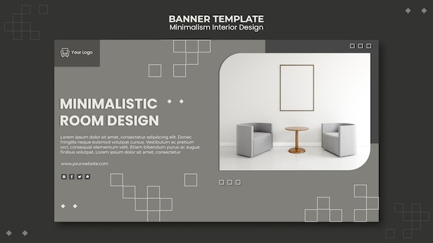 Banner modello di interior design minimalista