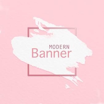 Banner moderno de pincel sobre fondo rosa
