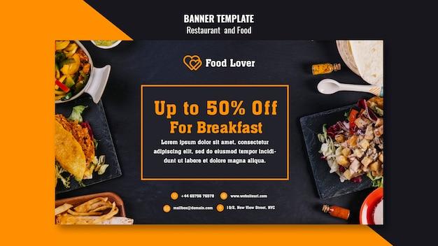Banner moderno para restaurante de desayuno.