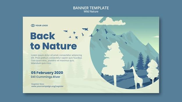 Banner de naturaleza salvaje de animales y montañas