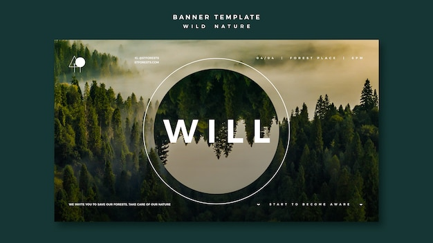 Banner para naturaleza salvaje con bosque