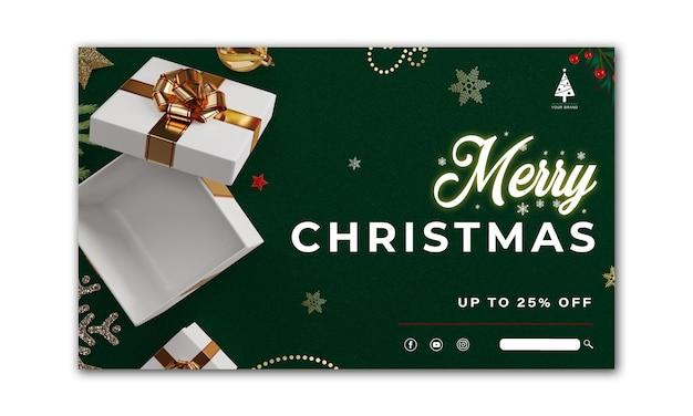 Banner de navidad. diseño de navidad de fondo blanco caja de regalos abierta render 3d. cartel de navidad horizontal, tarjeta de felicitación, encabezados para sitio web