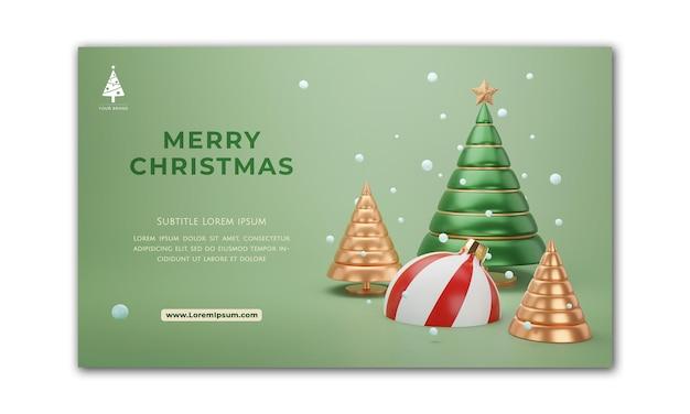 Banner de navidad. diseño de navidad de fondo de bola de árbol de navidad. cartel de navidad horizontal, tarjeta de felicitación, encabezados para sitio web. render 3d.