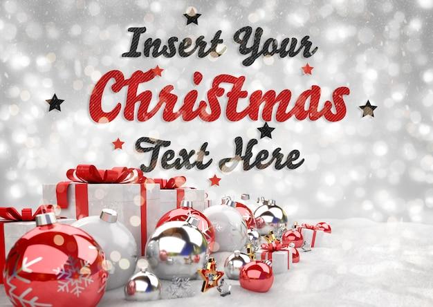 Banner de navidad con texto y adornos rojos