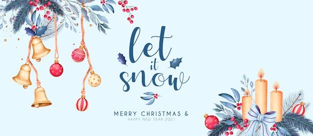 Banner navideño en acuarela con hermosos adornos