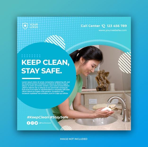 Banner o folleto de prevención de coronavirus para plantilla de publicación en redes sociales