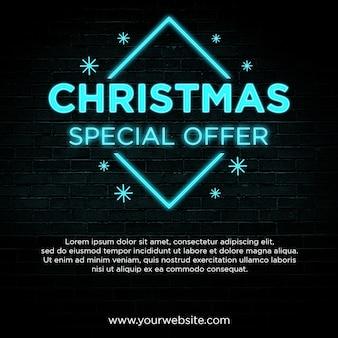 Banner de oferta especial de navidad en diseño de estilo neón azul