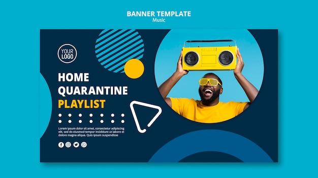 Banner om tijdens quarantaine van muziek te genieten