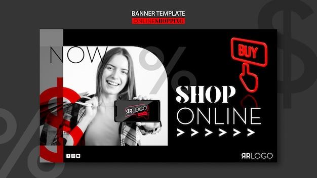 Banner orizzontale online del negozio di moda