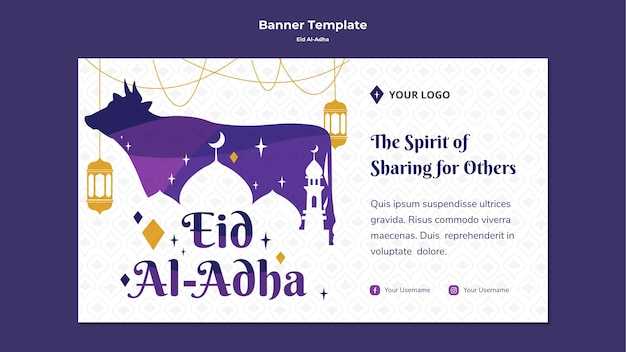Banner orizzontale per eid mubarak