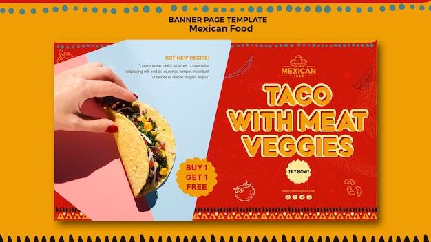 Banner orizzontale per ristorante di cibo messicano