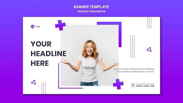 Banner orizzontale per tema gratuito con geometrie dinamiche