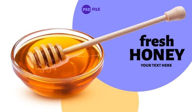 Banner de palo y tazón de miel